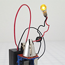 Kathleen Graves - Bot Study 2 - 2012 - Found Objects, Ear Phones, Paint, Computer Chips, Battery Pack, LED - 6.5in x 4.5 x 3