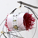 Kathleen Graves - Climate Bot - 2012 - Found Objects, Recycled Wire & Screws, Cat Hair, Metal Ring, Cotton & Thread, Anio Board, LEDs, Conductive Thread
