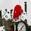 Kathleen Graves - Storyteller Bot - 2012 - Found Objects, Brass Prop, Dials, British Tourism Film Wheel, Paint, Paper Packing Peanuts, Magnifying Disk